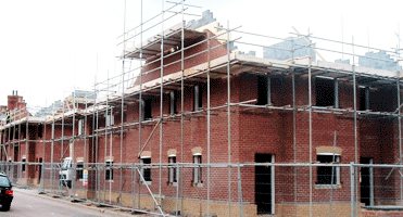 A new build house with scaffold house in Fleckney