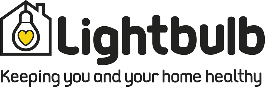 "A rectangular logo of Lightbulb with a house and a lightbulb around a yellow heart. The slogan ""Keeping you and your home healthy"" is underneath."
