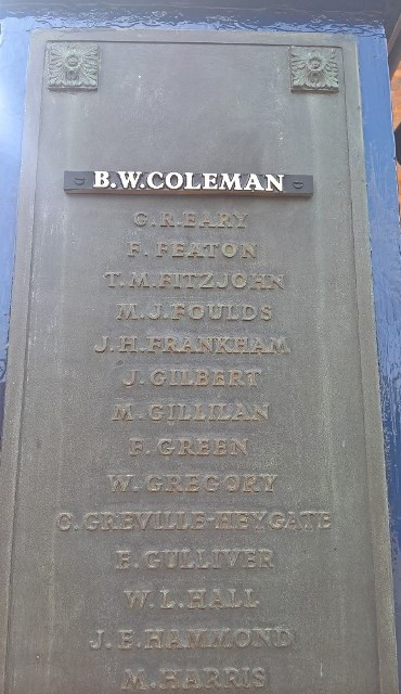 Name plate private coleman, memorial gardens,