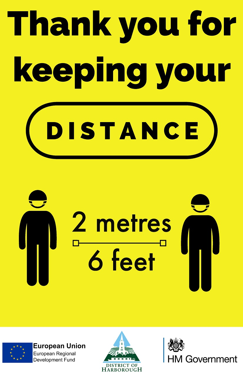Thank you for keeping your distance sign