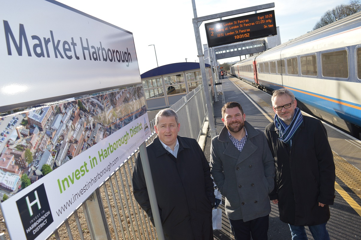 Train station Invest in Harborough sign